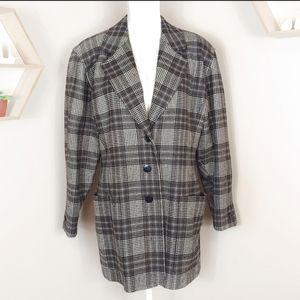 Vintage Escada Tweed Plaid Button Up Blazer Jacket